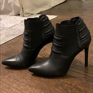Black Leather Bootie 8M